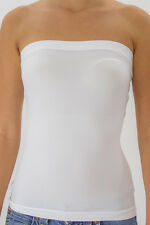 Strapless Tube Top long Bandeau Seamless Stretch Ribbed Basic Layering