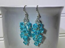 Sterling Silver And Light Aqua Swarovski Crystal Faceted Glass Bead Earrings