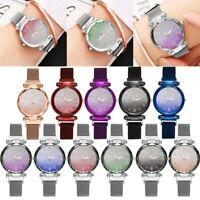 FAD Women Ladies Starry Sky Rhinestone Mesh Band Analog Quartz Wrist Watches
