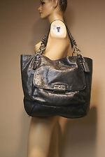 Used COACH Kristin Pinnacle Slvr/Blk Leather Tote F19385 $698 17.25 x 6 x 16.25