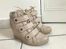 Women-Fashion-Shoes-High-Top-Ankle-Boots-Wedge-Sneakers-Hidden-Tennis-size 8