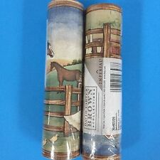 David Carter Brown Farm Wallpaper Border Set Of 2 Rolls 10 Yds Horse Barn Cow