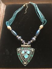 green blue turquoise chunky statement cord necklace