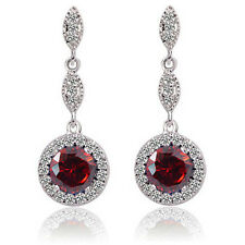 Vintage Design Shiny Luxury Teardrop Silver & Red Zircon Drop Earrings E780