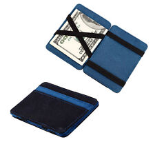 Magic Wallet Money Clip Card ID Holder Slim Flip Leather Suede - Black & Blue