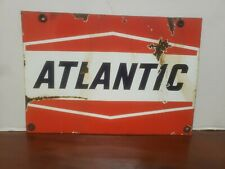 VINTAGE ATLANTIC GAS STATION PORCELAIN PUMP PLATE SIGN AS  PICTURED