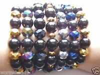 Swarovski crystal & black glass round bead stretch bracelet - choose colour