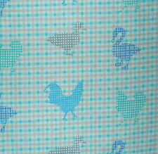 DESIGNERS GUILD Rosecomb Country Gingham Rooster Animal Turquoise Remnant New
