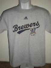 NEW-FLAWED Milwaukee Brewers YOUTH Large Gray Adidas T-Shirt 46KY