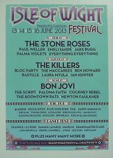 ISLE OF WIGHT FESTIVAL 2013 A3 POSTER BON JOVI THE KILLERS THE STONE ROSES BUGG
