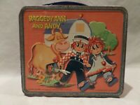 """VINTAGE 1973 """"RAGGEDY ANN AND ANDY"""" METAL LUNCH BOX BY ALADDIN"""