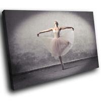 Grey Black Pink Ballerina Ballet Modern Canvas Wall Art Large Picture Print