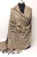 Women's Pashmina & Silk Paisley jacquard Shawl/Wrap/Scarf Color Tan/Beige #J01