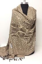 New Pashmina & Silk Paisley jacquard Shawl/Wrap/Scarf Color Tan Beige Soft Warm