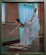 Ballerina an der Probenstange Ölmalerei Leinwand 60 x 50 cm Henri Gautier *1955