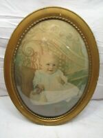 Early Gesso Wood Oval Dome Bubble Glass Picture Frame Convex Baby Portrait Photo