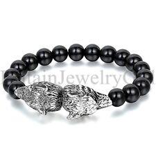 "10"" Cool Mens Stainless Steel Wolf Head Black Ball Beads Bracelet Birthday Gift"