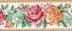 Wallpaper Border Country Floral Red, Orange & Green