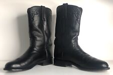LUCCHESE 2000 Mens Black Leather Roper Boots Sole 8D Cowboy Western Rodeo T0082