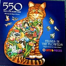 Bits & Pieces 550 piece cork jigsaw puzzle Felines in the Flowers