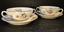 TWO Syracuse China Selma Old Ivory 2 Handled Soup Bowls Saucers (Set of 2) NICE