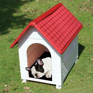 Plastic Dog Kennel Pet Cat House Weatherproof Indoor Outdoor Animal Shelter UK