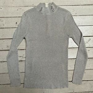 S M L Vintage 1970s Sweater  70s Tie Front Metallic Knit Cropped Sweater  Black