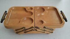 Vintage Karoff Wood Mid-Century Fold-Away Buffet 5 Tray 3 Tier Serving Tray