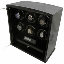 6 Slot Watch Winder Programmable LCD Digital Black Laquer