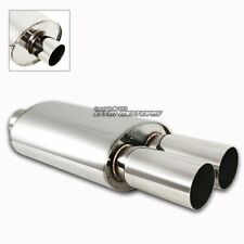 "3"" Dual Tip T-304 Stainless Steel 2.5"" Inlet Weld-on Muffler Exhaust For HONDA"