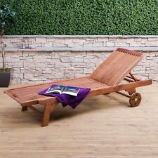 Adjustable Wooden Sun Lounger with Wheels