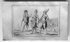 1837 de Rochelle Antique Print of the United States - Florida Indian Warriors