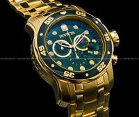 New Invicta Pro Diver Scuba 18K Gold Plated Green Dial Chrono S.S Bracelet Watch
