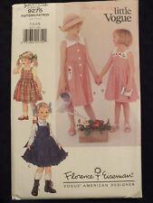 Sweet OOP VOGUE Designer 9275 Tdlr Girls Dress/Sundress or Jumper PATTERN 2-3-4