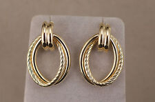 Double Hoop Earrings Friction Posts and Backs for Pierced Ears 14kt yellow Gold