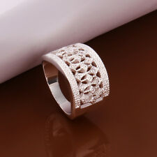 NEW 925 Sterling Silver Plated Fashion Ring Hollow Bohemia Flower Size 8