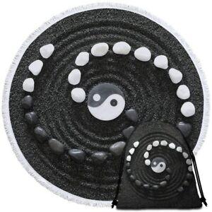 Black Sand Tai Chi Yin Yang Round Beach Towel Picnic Throw Yoga Mat Blanket Bag
