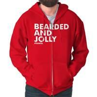 Bearded Jolly Christmas Hipster Santa Claus Mens Zip Hoodie Jacket Sweatshirt