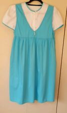 Ladies 2 Piece Top & Pullover Dress Pretty Blue & White Short Sleeve Size S