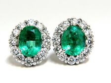 7.06ct Natural vivid Green Emerald diamonds cluster earrings 14kt Halo Classic