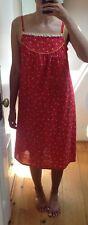 Vintage Hand Made Homemade Red Lace Lined Cute Floral House Dress Size S/M '60s
