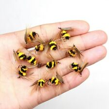 10Pcs Artificial Insect Bumble Bee Crank Bionic Bait Fly Trout Fishing Lures