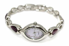 WOMENS SILVER STAINLESS STEEL BAND PURPLE AMETHYST ANALOG DRESS WATCH