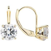 3 Ct Round Cut Created Diamond Leverback Earrings Real Solid 14K Yellow Gold
