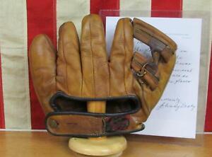 Vintage 1940s Rawlings Leather Baseball Glove Mitt G390 Johnny Pesky Signed COA