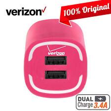 OEM Verizon Rapid Dual-USB Wall Home Charger Pink NEW Verizon Logo 100% Original