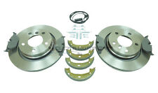 BMW E46 320d 320 325 REAR 2 BRAKE DISCS & PADS & SHOES AND FITTING KIT & SENSOR