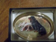 1 OVAL GLASS PAPERWEIGHT DISPLAYING  PAIR OF SPANIELS- NEW BOXED-BRITISH MADE