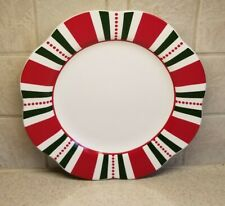 "PIER 1 IMPORTS CHINA CHRISTMAS STRIPES   PATTERN DINNER PLATE 11"" EXCELLENT!!!"