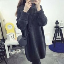 Women Loose Knit Sweater Dress Turtleneck long Sleeve Autumn Winter Casual Solid